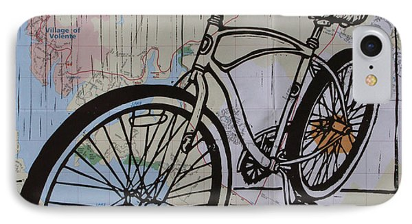 Bike 6 On Map Phone Case by William Cauthern