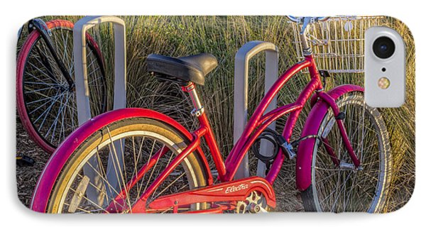 Bike At The Beach IPhone Case by Debra and Dave Vanderlaan