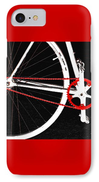Bicycle iPhone 7 Case - Bike In Black White And Red No 2 by Ben and Raisa Gertsberg