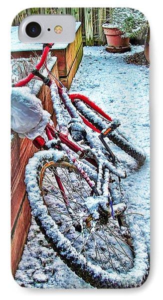 Bike In Winter Phone Case by Joan  Minchak