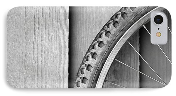 Bike Wheel Black And White Phone Case by Tim Hester