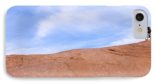 Biker On Slickrock Trail, Moab, Grand IPhone Case by Panoramic Images