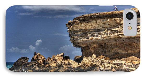 IPhone Case featuring the photograph Biker On The Rocky Cliff At La Pared by Julis Simo