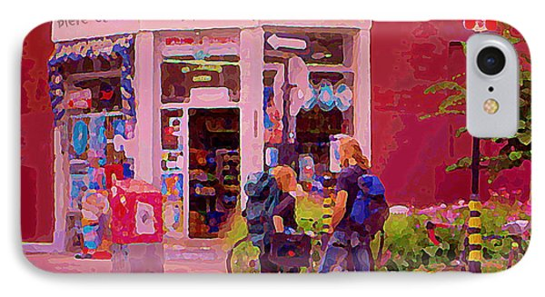 Bikes Backpacks And Cold Beer At The Local Corner Depanneur Montreal Summer City Scene  Phone Case by Carole Spandau