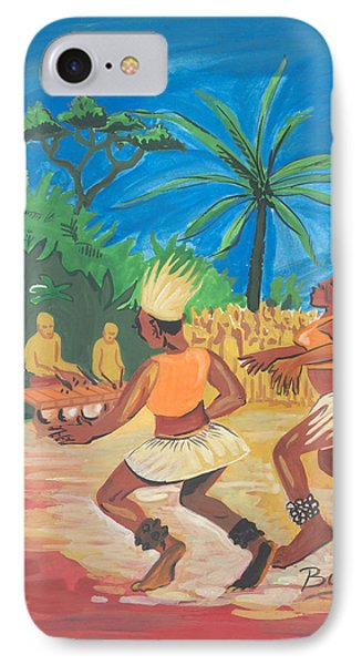 IPhone Case featuring the painting Bikutsi Dance 2 From Cameroon by Emmanuel Baliyanga
