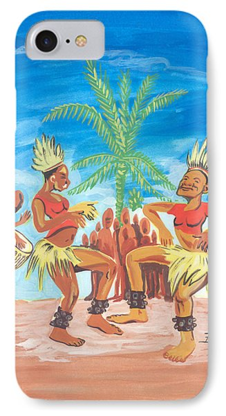 IPhone Case featuring the painting Bikutsi Dance 3 From Cameroon by Emmanuel Baliyanga