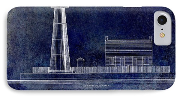 Biloxi Lighthouse Drawing Blue IPhone Case by Jon Neidert