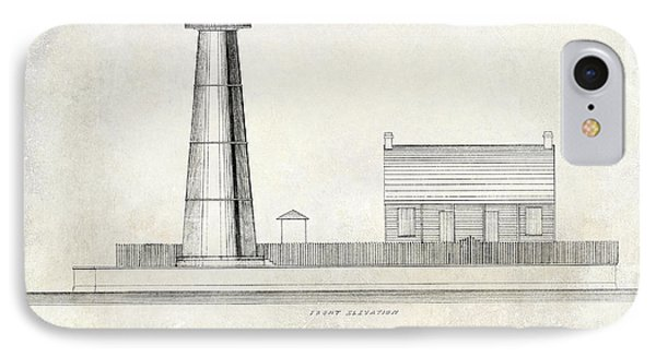 Biloxi Lighthouse Drawing IPhone Case by Jon Neidert