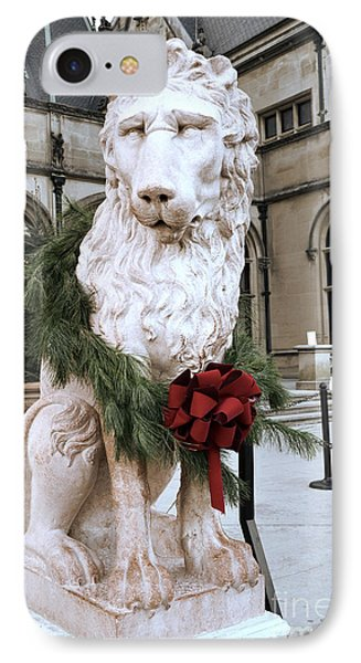Biltmore Mansion Estate Lion - Biltmore Mansion Mascot - Biltmore Lion Christmas Wreath IPhone Case by Kathy Fornal