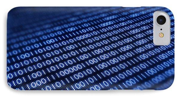 Binary Code On Pixellated Screen Phone Case by Johan Swanepoel