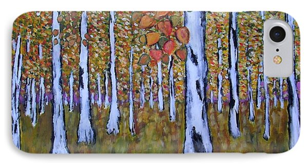 IPhone Case featuring the painting Birch Autumn by Zeke Nord