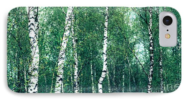 Birch Forest - Green Phone Case by Hannes Cmarits