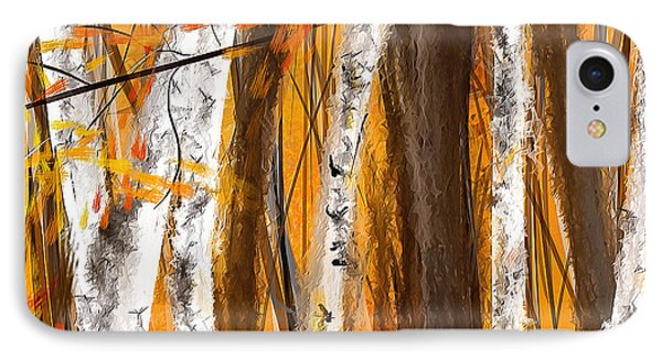 Birch Trees Autumn IPhone Case by Lourry Legarde