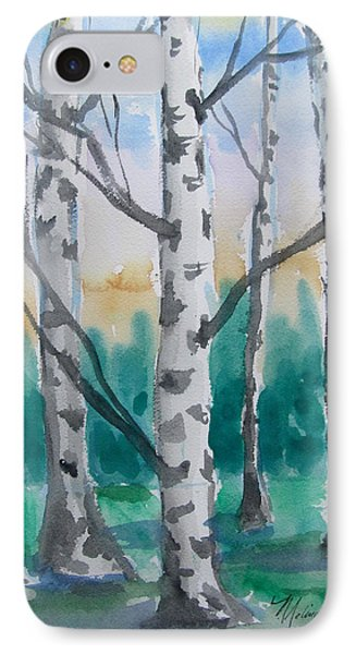 IPhone Case featuring the painting Birch Trees by Melinda Saminski