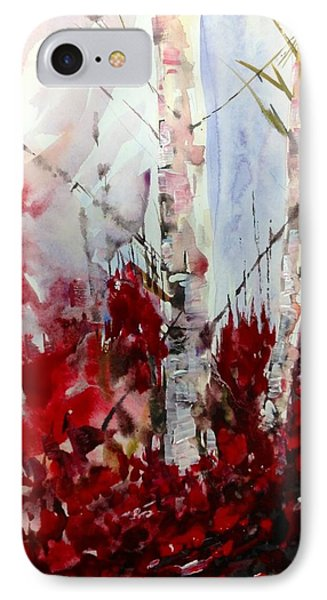 Birch Trees - Red Fall Foliage IPhone Case
