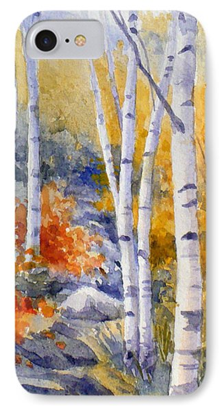 Birches Along The Trail IPhone Case by Janet  Zeh