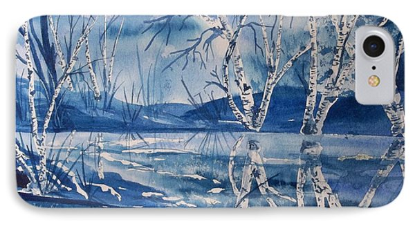Birches In Blue Phone Case by Ellen Levinson