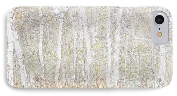 IPhone Case featuring the photograph Birches In Colored Pencil by Susan Crossman Buscho