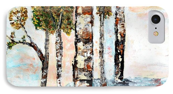 IPhone Case featuring the painting Birchwoods by Ayasha Loya