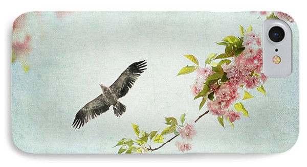 Bird And Pink And Green Flowering Branch On Blue IPhone Case by Brooke T Ryan