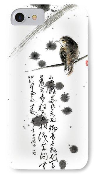Bird And The Zhang Zhi Poem Calligraphy Sumi-e Original Painting Artwork Phone Case by Mariusz Szmerdt