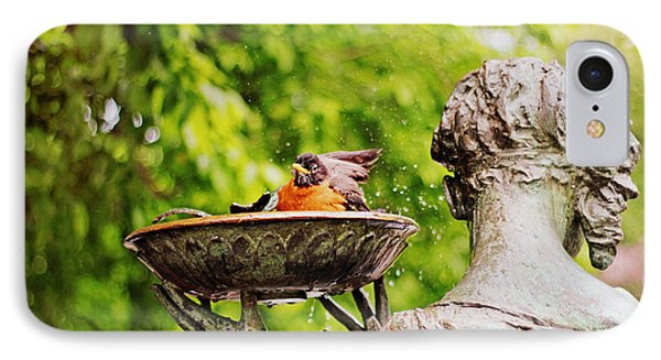 Bird Bath Fountain IPhone Case by Jessica Jenney