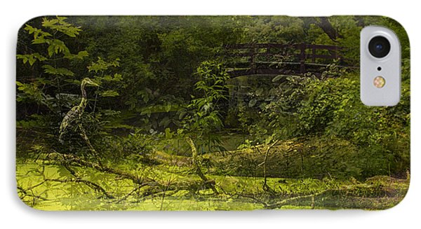 Bird By Bridge In Forest Merged Image IPhone Case by Thomas Woolworth