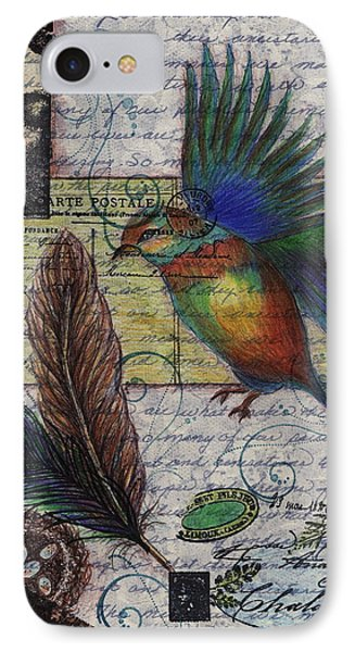 IPhone Case featuring the drawing Bird Flight by Tamyra Crossley