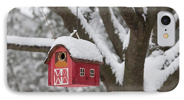 Bird House On Tree In Winter IPhone Case