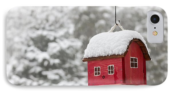 Bird House With Snow In Winter IPhone Case