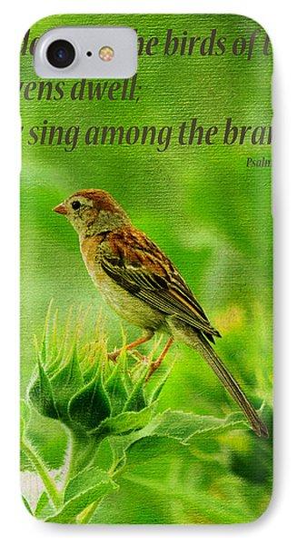 Bird In A Sunflower Field Scripture IPhone Case by Sandi OReilly