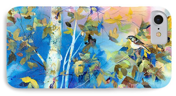 IPhone Case featuring the painting Bird In Blue by Mary Haley-Rocks