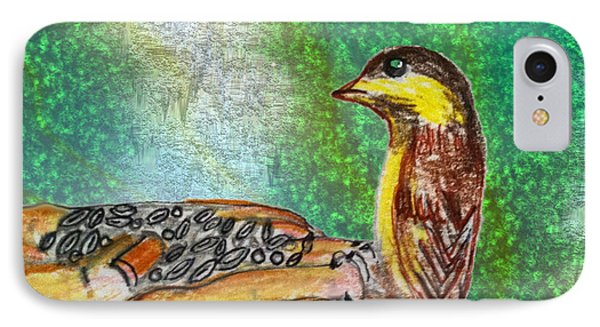 Bird In Hand IPhone Case by Barbara Giordano