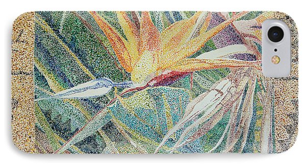 Bird Of Paradise With Tapa Cloth IPhone Case by Terry Holliday