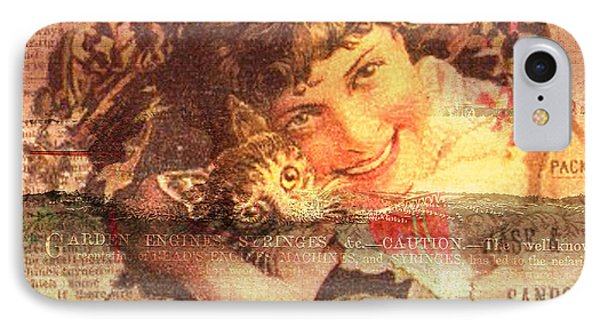 Bird With Cat On Vintage Background IPhone Case by Art World