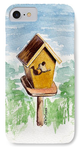 Birdhouse And Bird Of Wood IPhone Case by Julie Maas
