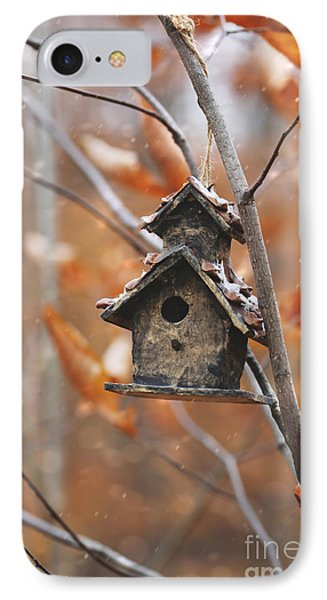 Birdhouse Hanging On Branch With Leaves IPhone Case by Sandra Cunningham