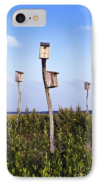Birdhouses In Salt Marsh. IPhone Case by John Greim