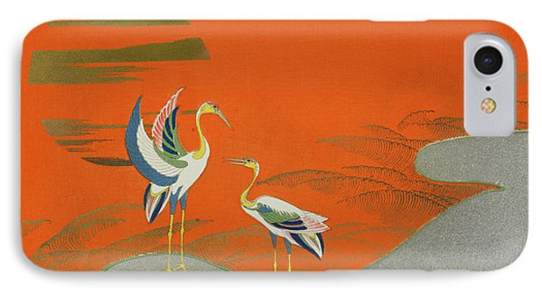Birds At Sunset On The Lake IPhone Case by Kamisaka Sekka