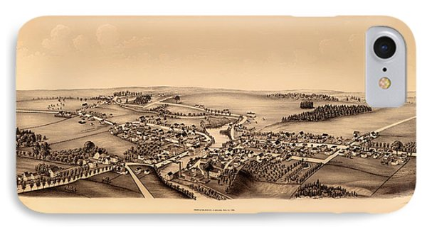 Bird's-eye View Of Hagamans Mills New York 1890 IPhone Case by Mountain Dreams