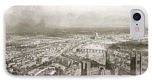 Birds Eye View Of London From Westminster Abbey IPhone Case by Nicolas Marie Joseph Chapuy