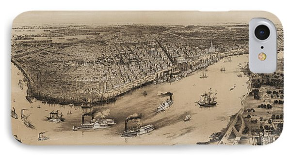 Birds Eye View Of New Orleans 1852 Phone Case by Bill Cannon
