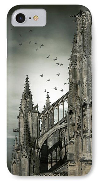 IPhone Case featuring the photograph Birds Flying Around Old Cathedral  by Ethiriel  Photography