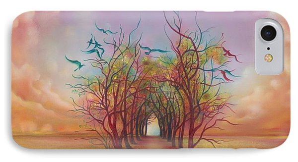 IPhone Case featuring the painting Birds Of Rainbow Mist by Anna Ewa Miarczynska
