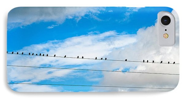 Birds Perching On A Wire IPhone Case by Panoramic Images