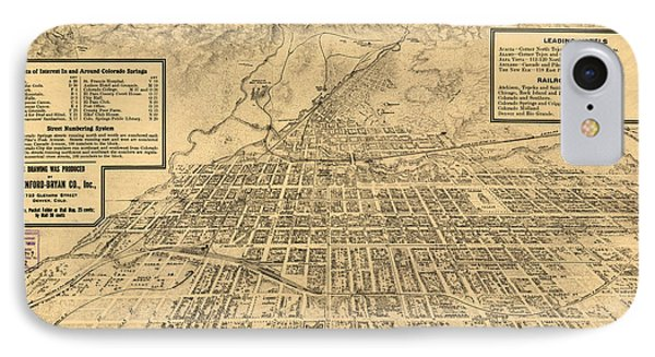 Birdseye Map Of Colorado Springs - 1909 IPhone Case by Eric Glaser