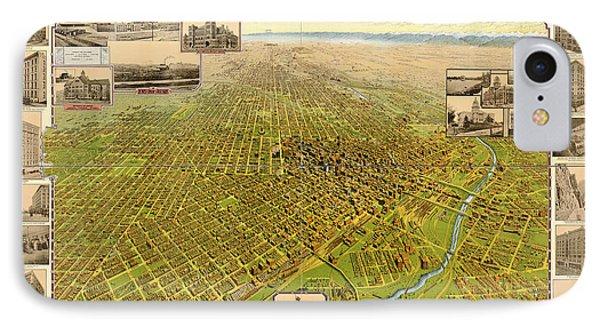 Birdseye Map Of Denver Colorado - 1908 IPhone Case by Eric Glaser