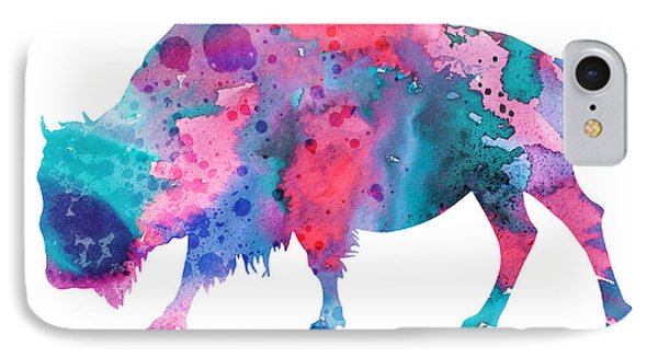 Bison 2 IPhone Case by Watercolor Girl