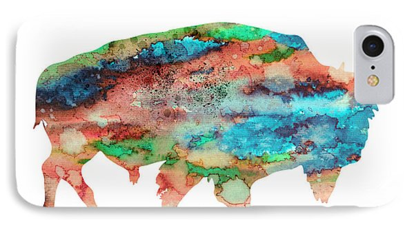 Bison 3 IPhone Case by Watercolor Girl