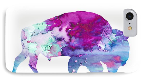 Bison 4 IPhone Case by Watercolor Girl